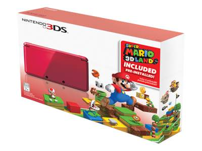 Nintendo 3DS (Flame Red) Super Mario 3D Land Bundle