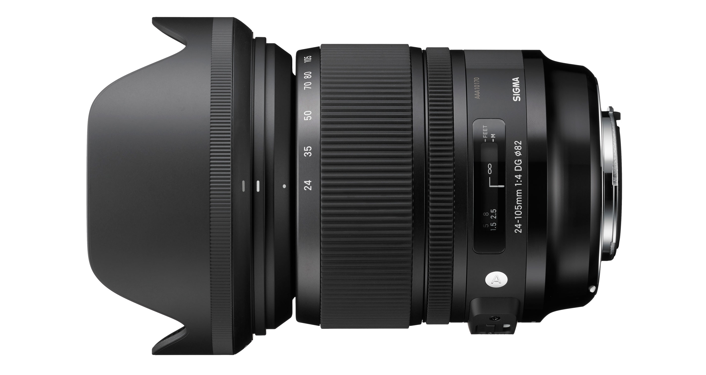 Sigma's 24-105mm F4 DG OS HSM with its petal-shaped lens hood.
