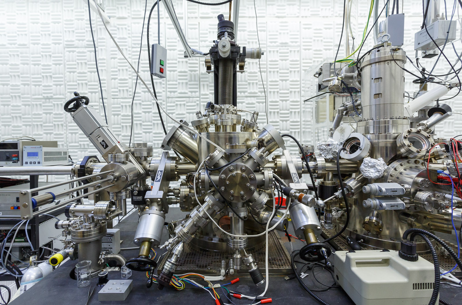 One super-precise instrument in IBM's noise-free rooms is this spin-polarized scanning electron microscope, which can be used to gauge the exact details about magnetic materials. Samples that researchers investigate are placed inside a chamber with a vacu