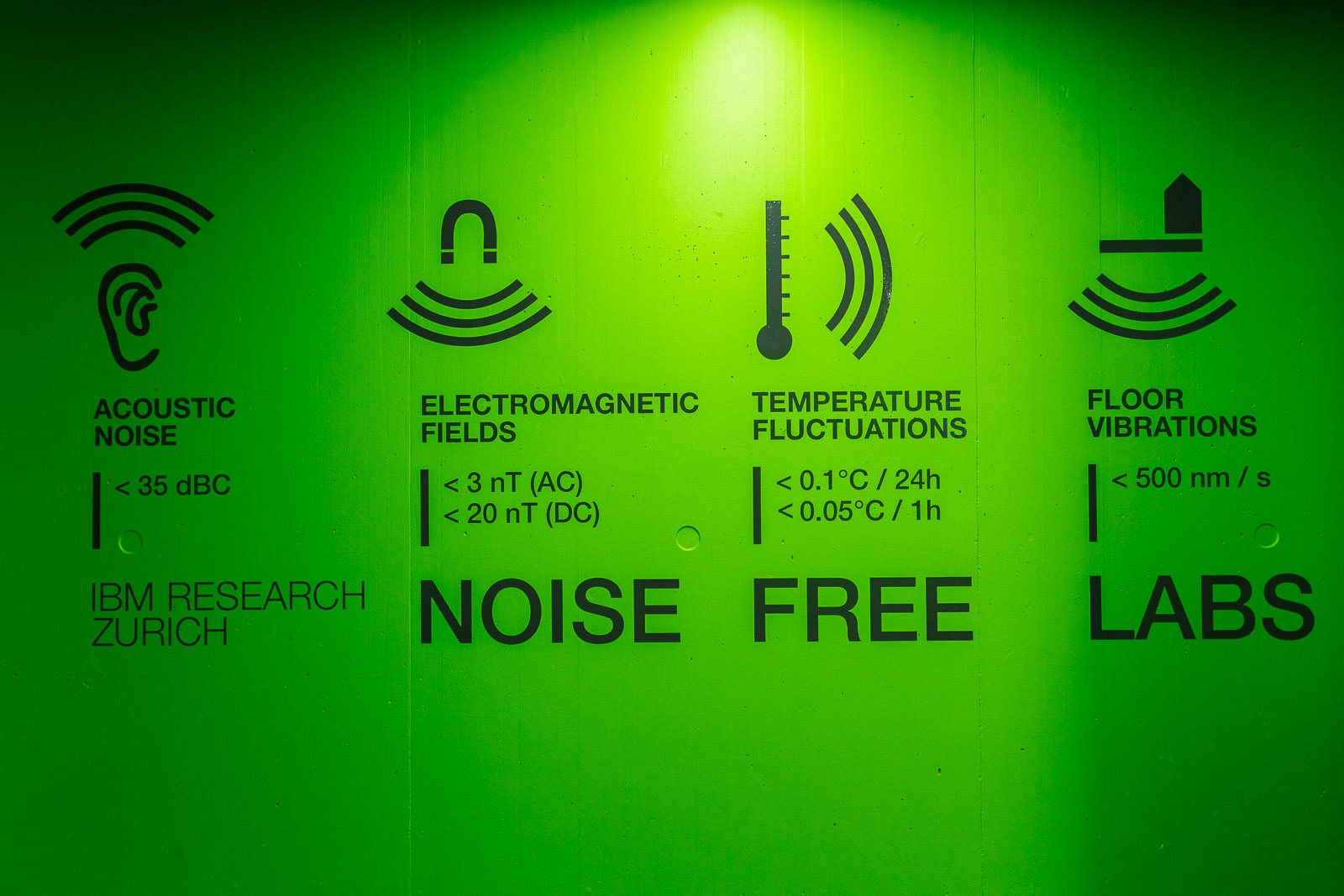 IBM's noise-free rooms are shielded from several types of disturbances.