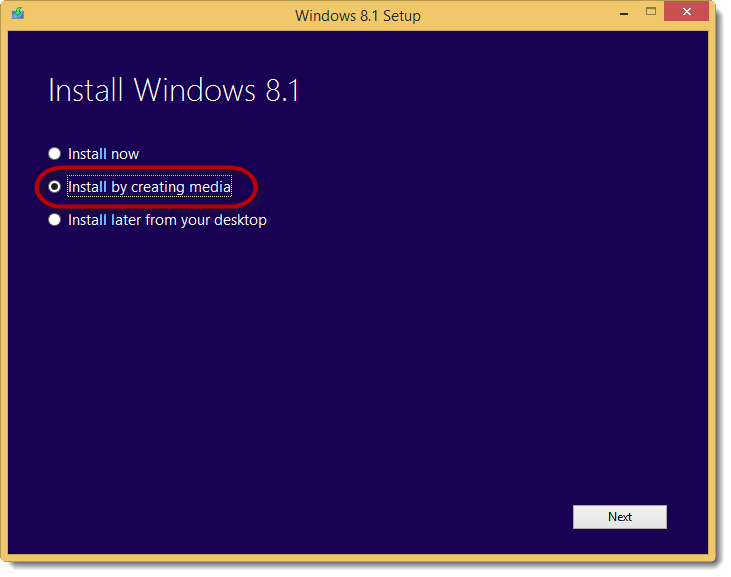 Install Windows 8.1 by creating media