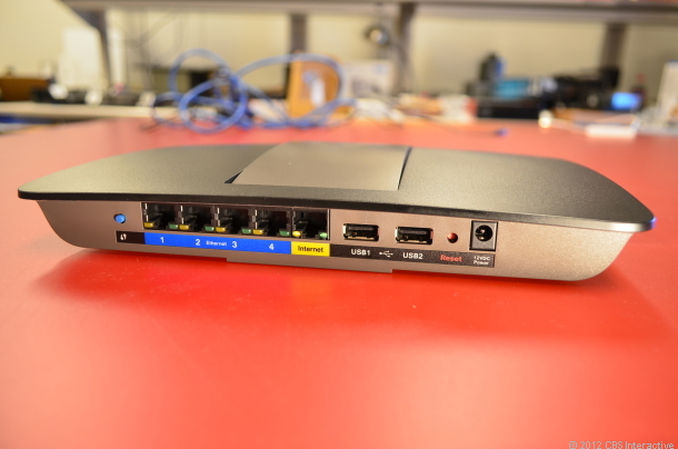 The back of a typical router;, the WAN port is clearly distinguished from the LANs.