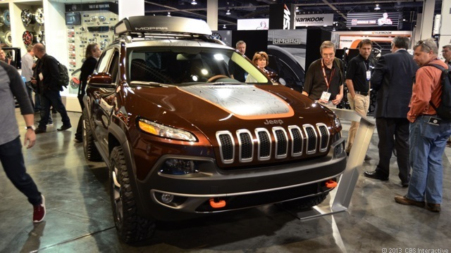 LAS VEGAS -- The Trail Carver starts with the V-6 powered Jeep Cherokee Trailhawk and upgrades it to better handle off-road conditions. The underbody, fuel tank, oil pan, suspension and more are protected by skid plates.