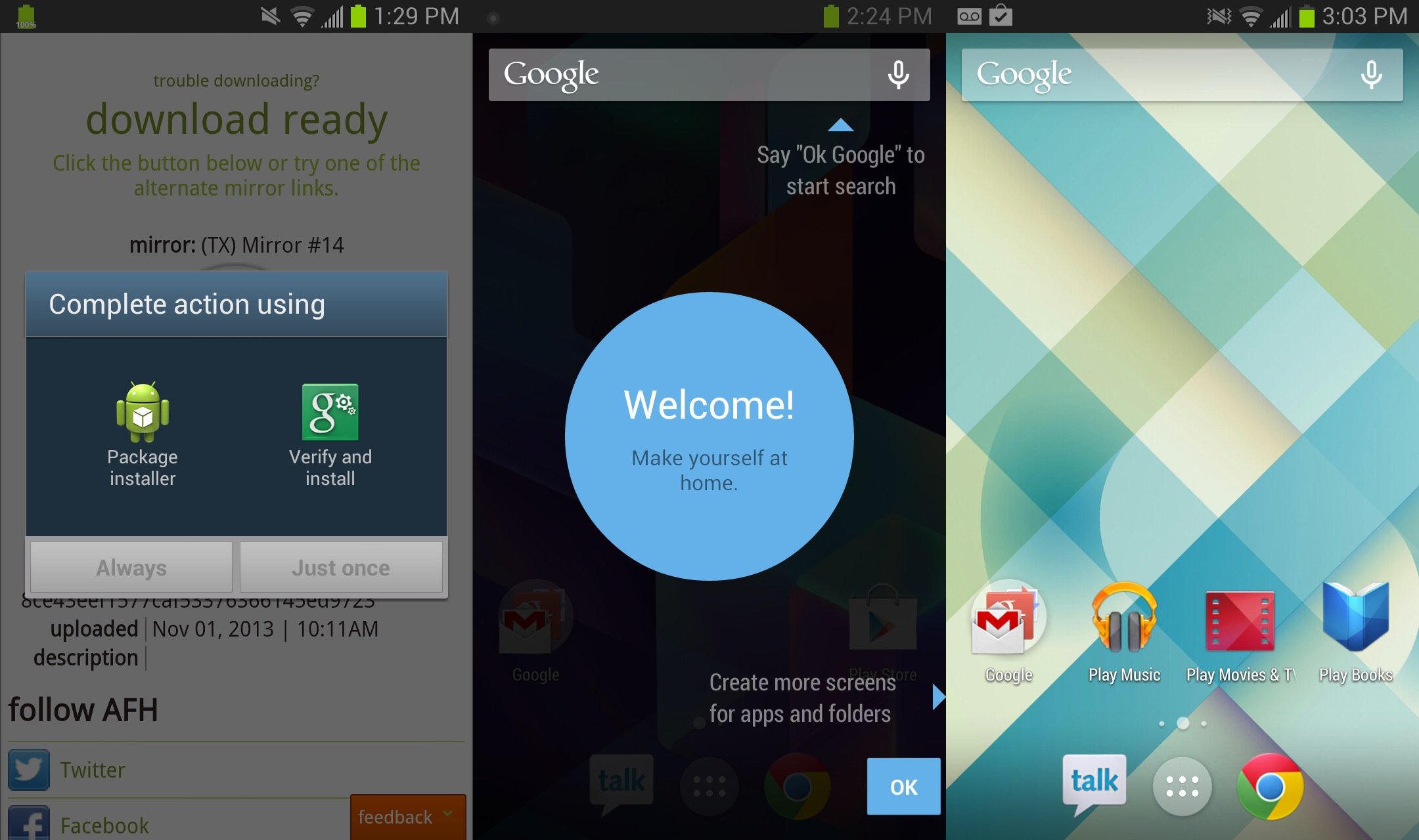 Screenshots of KitKat launcher installation.