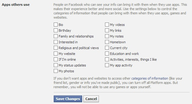 Facebook App Settings option for friends sharing your information with apps