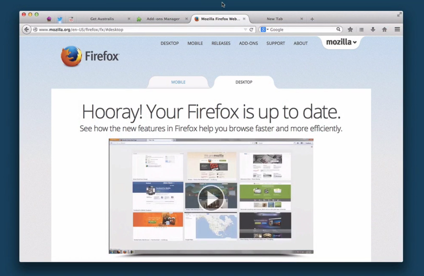 Australis, Mozilla's overhaul of Firefox's user interface.