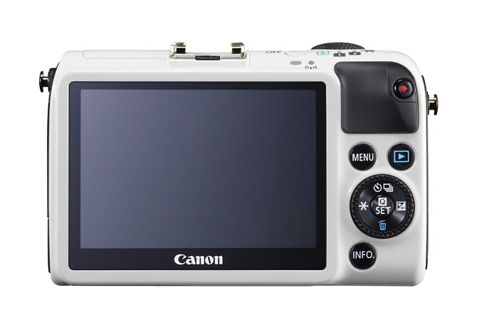 The back of the EOS M2 shows its touch-screen display and its selector dial.