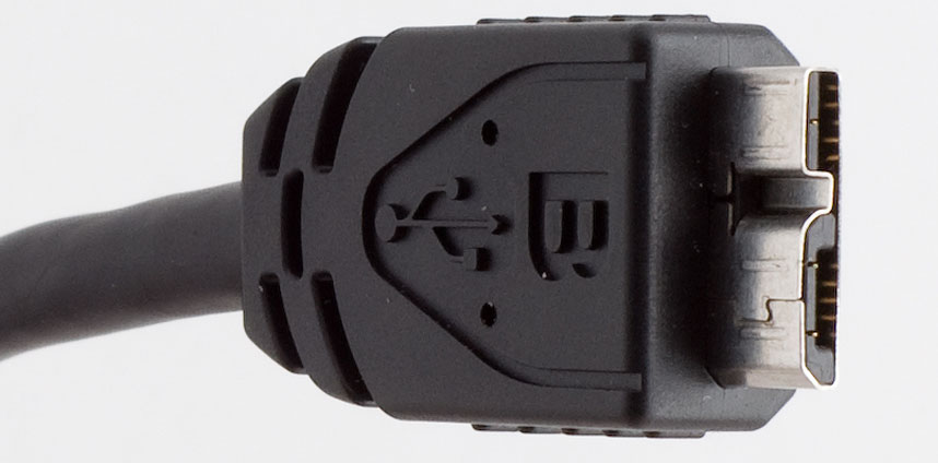 The arrival of USB 3.0 has meant even more types of USB connectors, including this USB Micro-B connector. A new Type-C standard is intended to sweep away all the variation with a single connector type for all purposes.