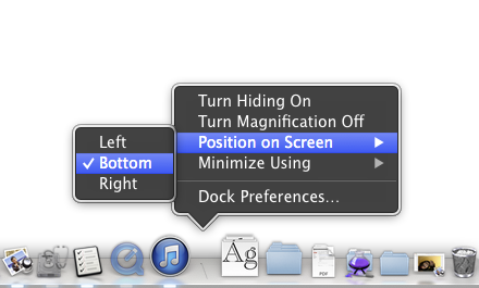 Dock contextual menu in OS X
