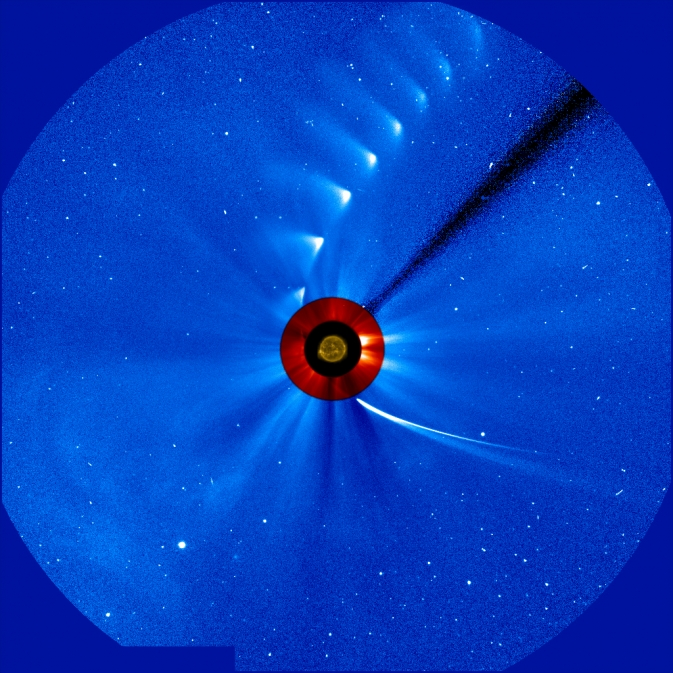 "In this time-lapse image from the ESA/NASA Solar and Heliospheric Observatory, Comet ISON comes in from the bottom right and moves out toward the upper right, getting fainter and fainter.  <br><br> At one point, scientists had <a href=""http://news.cnet.com/2300-11386_3-10019094.html"" >hoped it would survive its close encounter with the sun</a> and put on a spectacular show for Earth during the first weeks of December as it continued streaking through the sky. But alas, ISON appears to have burned up in the sun's extreme heat, and <a href=""http://news.cnet.com/8301-17938_105-57614223-1/top-comet-ison-watcher-calls-space-rock-officially-doa/"" >a top ISON watcher has declared the comet DOA</a>."