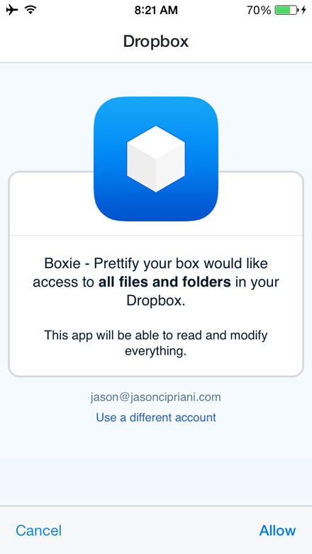 The first thing you'll need to do after downloading Boxie is authorize it to access your Dropbox account.