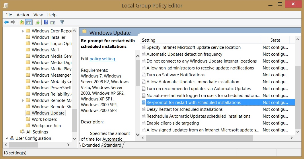 Windows 8 Group Policy Editor settings for Windows Update