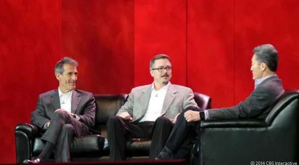 "Sony Pictures Entertainment CEO, Michael Lynton, ""Breaking Bad"" creator Vince Gilligan, Sony CEO Kasuo Hirai, CES 2014"