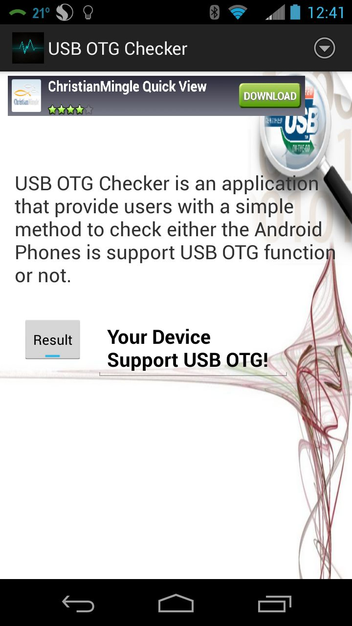 USB OTG Checker correctly identified the Moto X as supporting USB OTG.