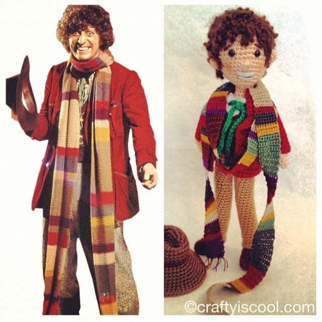 "Even Tom Baker's friendly grin is detailed in the amigurumi ""Doctor Who"" doll made by Allison Hoffman."