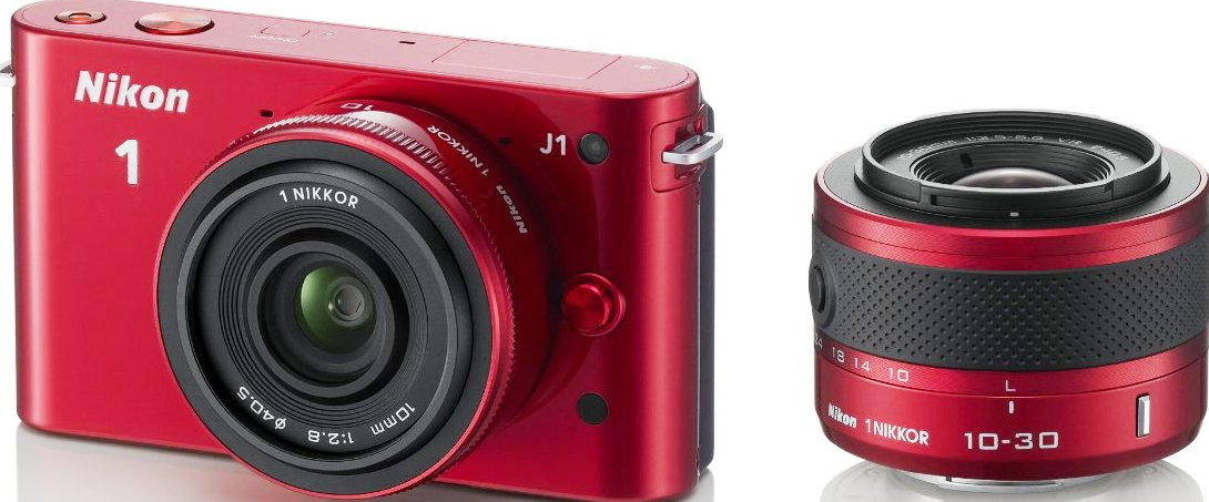 Nikon 1 J1 (with 10mm and 10-30mm lenses, Red)