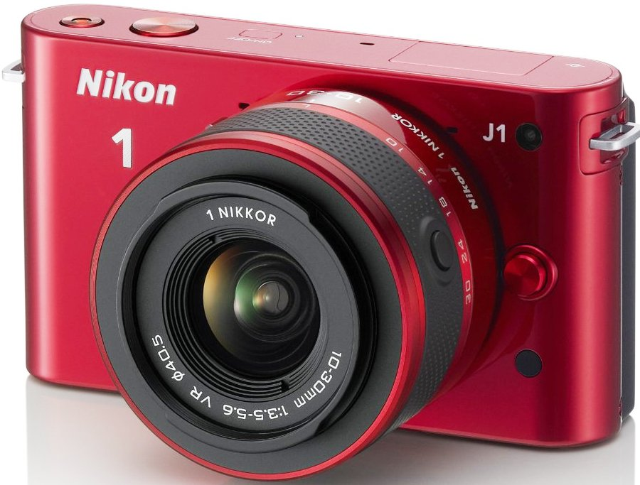 Nikon 1 J1 (with 10-30mm lens, Red)