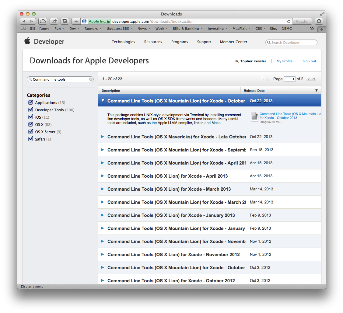 Command Line Tool downloads for OS X