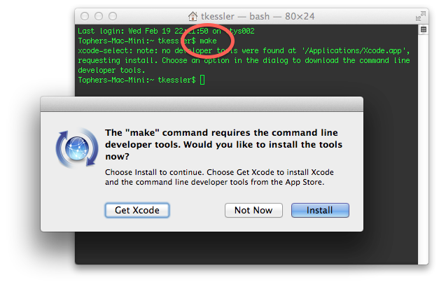 Command line developer tools install prompt in OS X