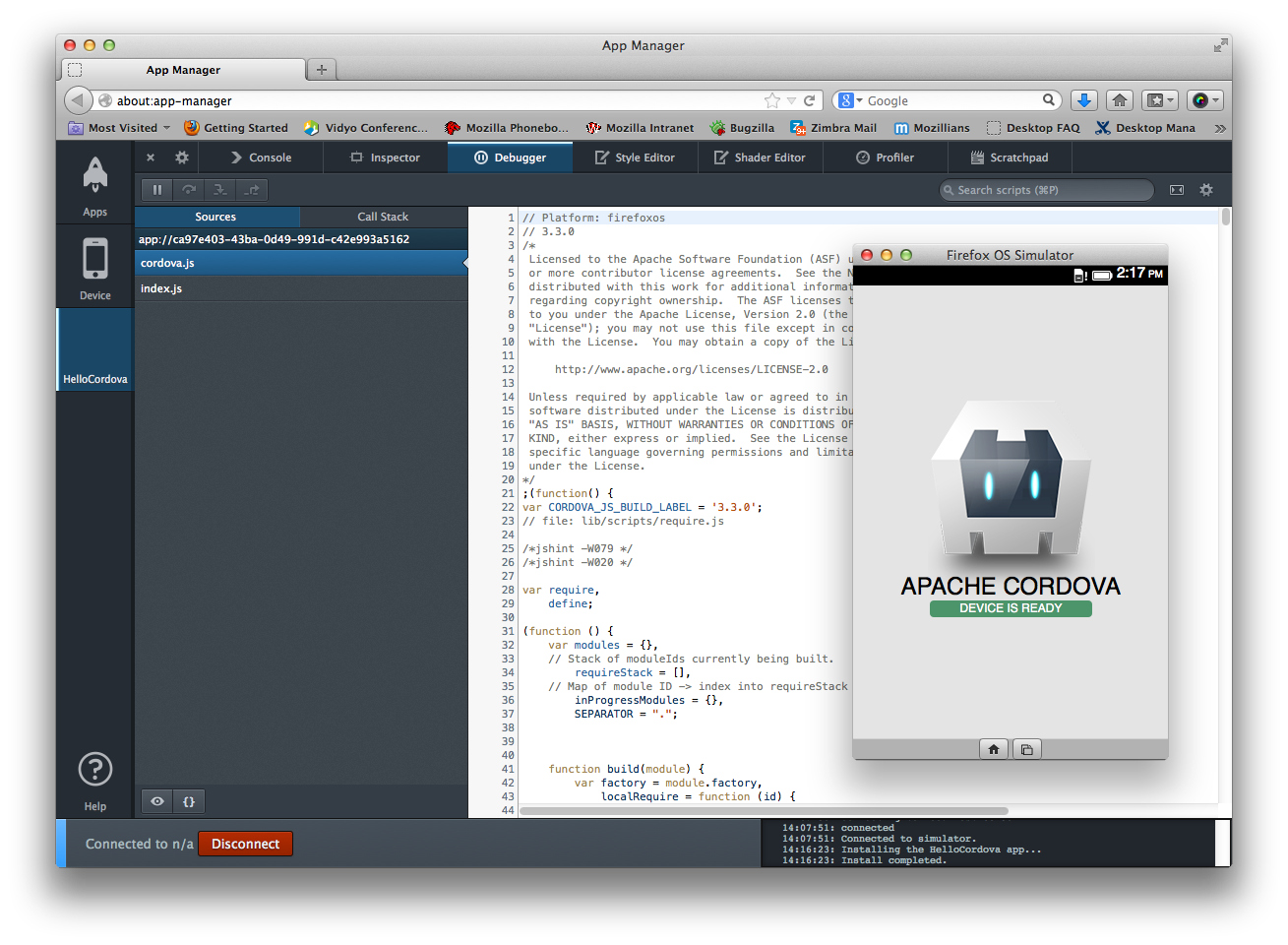 Firefox's App Manager is here used in conjunction with Cordova, a tool for cross-platform mobile programming using Web standards.