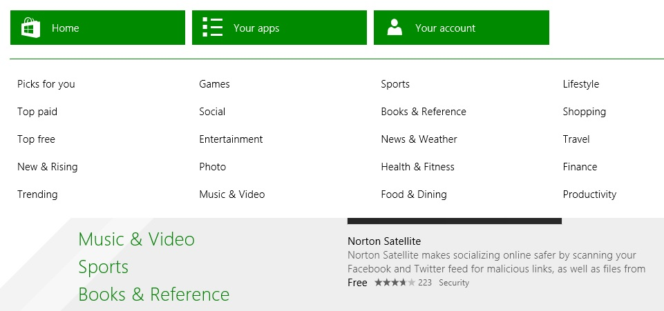 Windows 8.1 Store app options