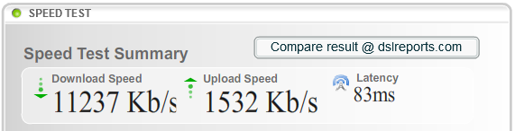 DSLReports.com's fastest speed-test result