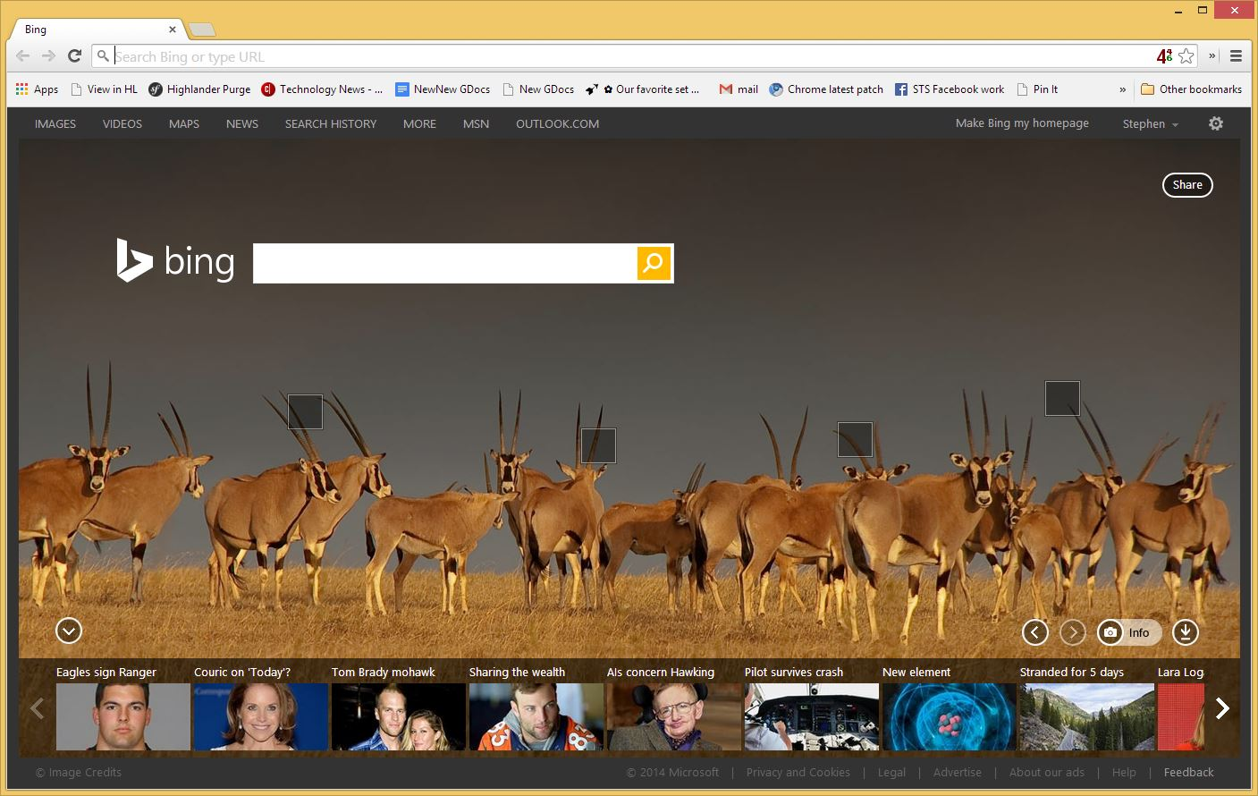 Chrome's new-tap page shows Bing's photo-centric search page for people who set it as default.
