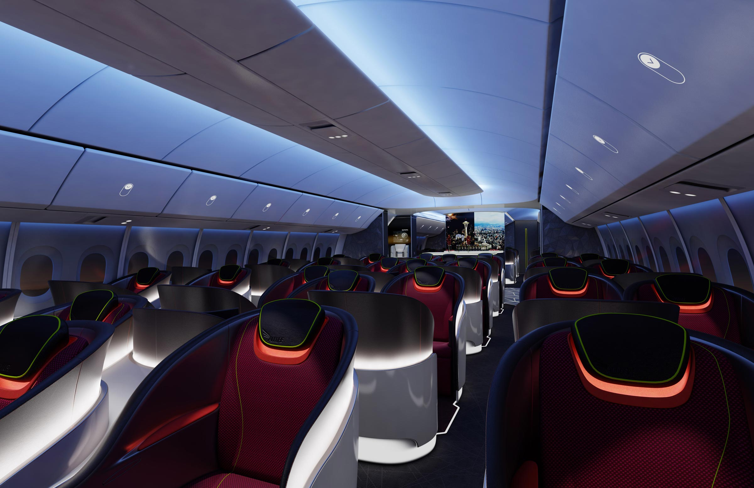 A rendering of Boeing 777X's interior
