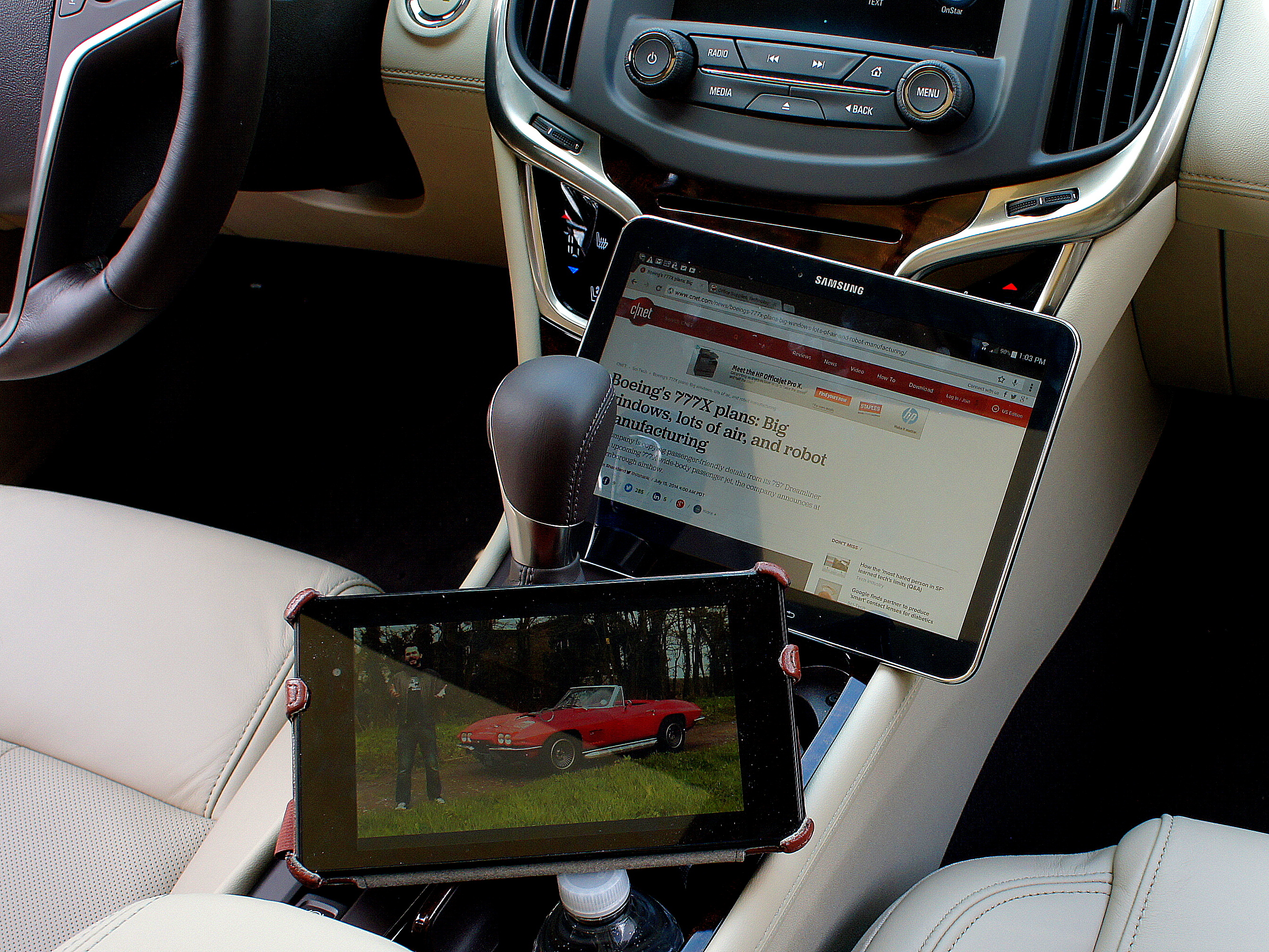 WiFi-connected tablets in a Buick