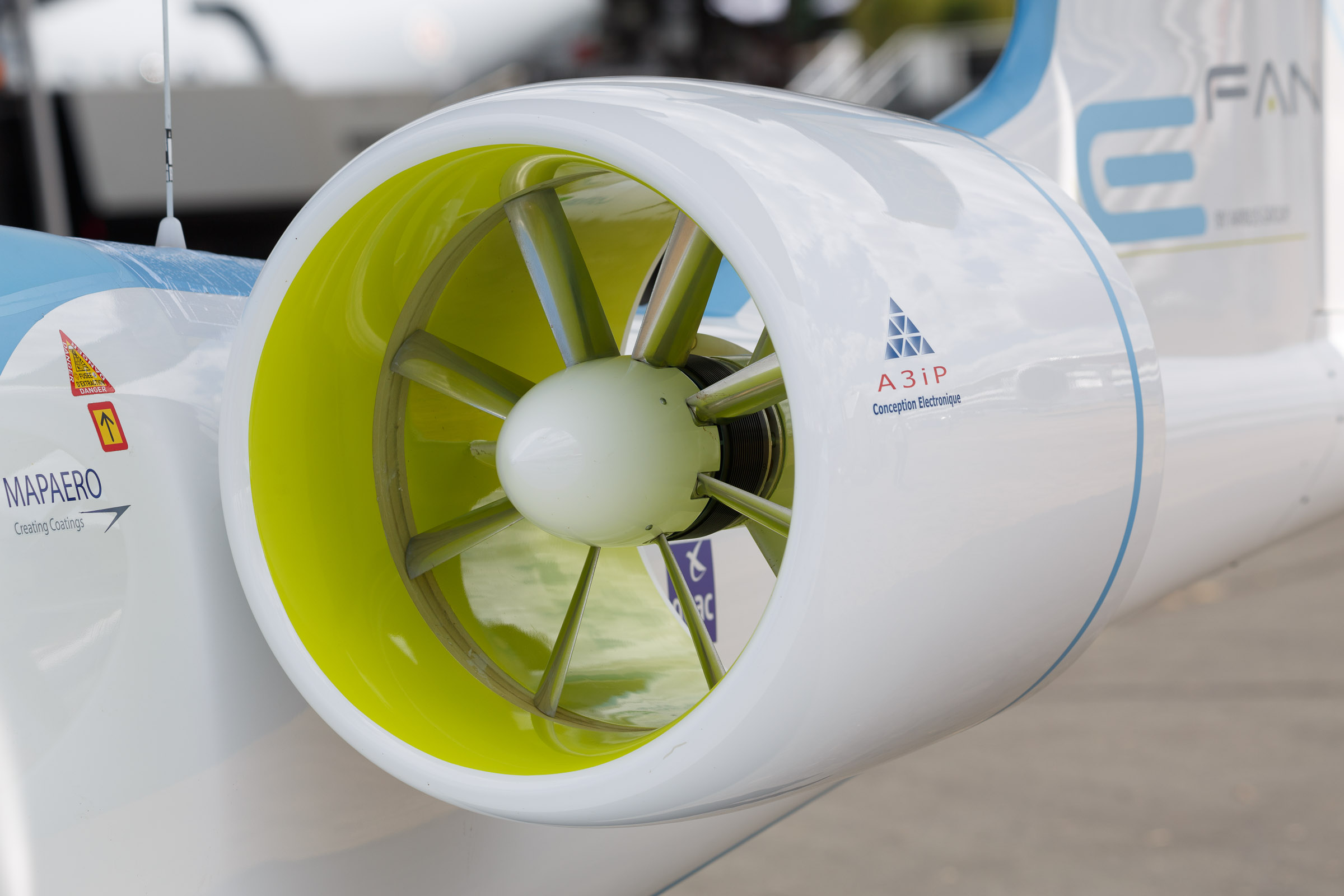 The Airbus E-Fan's twin engines are powered by a 120-cell lithium polymer battery.