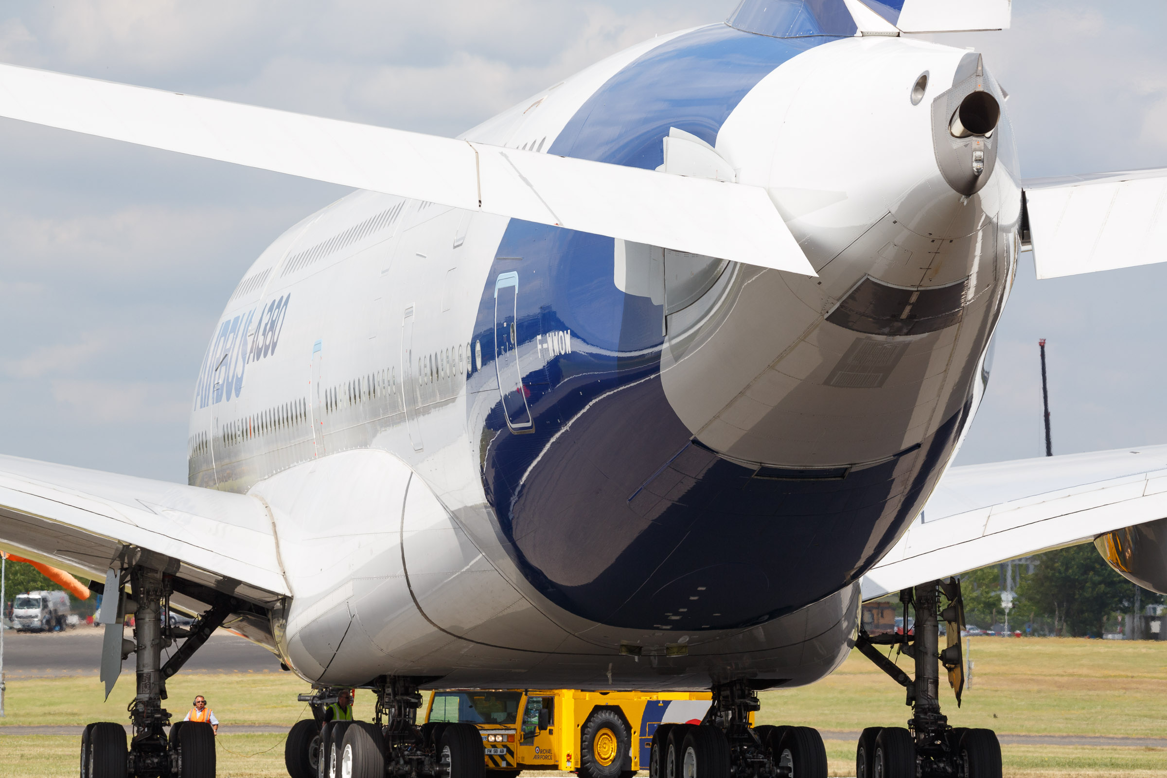The Airbus A380 is a massive two-deck aircraft that can hold up to 550 passengers.
