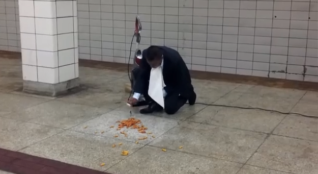 Exec eats off floor to sell