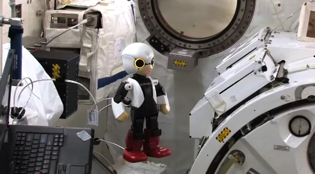 Kirobo sends his greetings to the Earth below as he floats around the ISS.