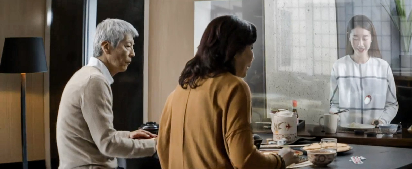 Samsung's vision of a smart home includes having dinner with a distant friend or relative who makes a video appearance.