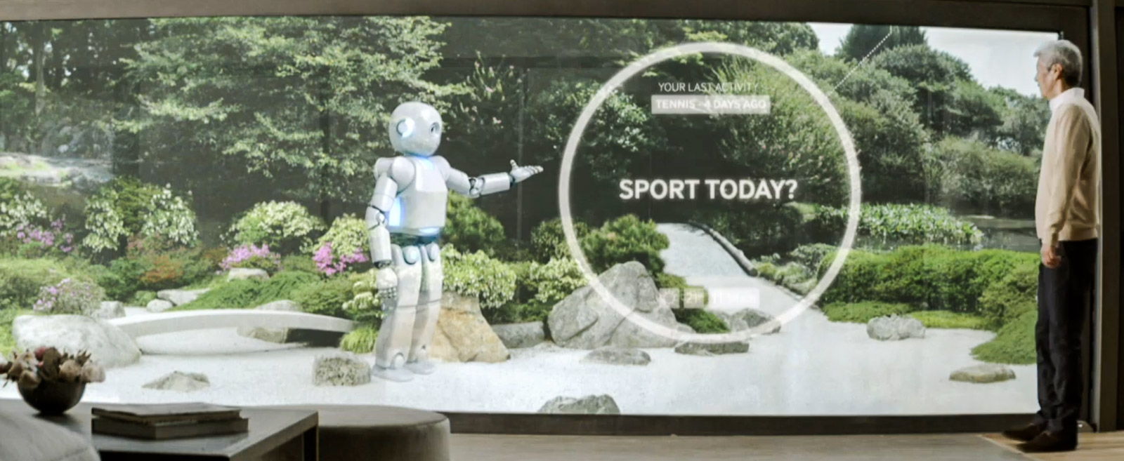 Samsung's ideal smart home, here embodied by a virtual robot image, will prompt people to exercise.