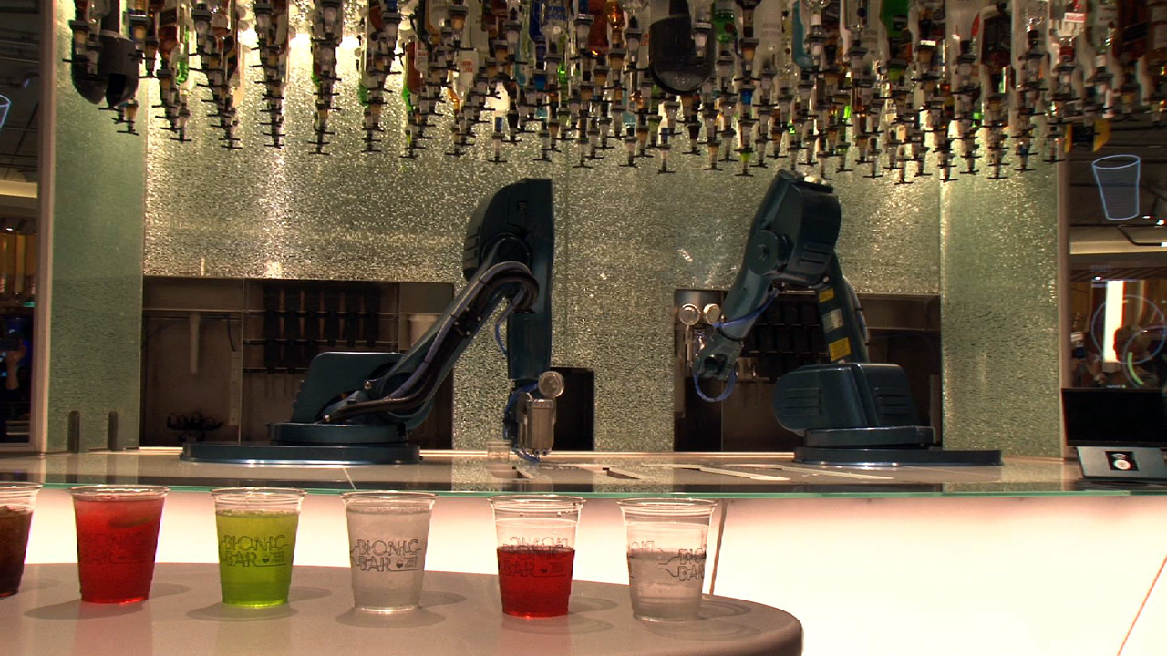 Video: Robot bartenders shake it up on cruise ship