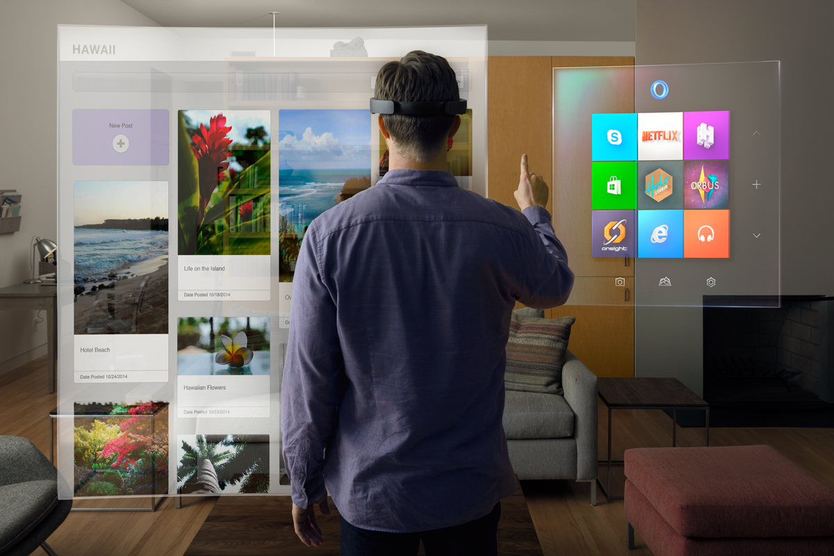 Microsoft HoloLens in use.