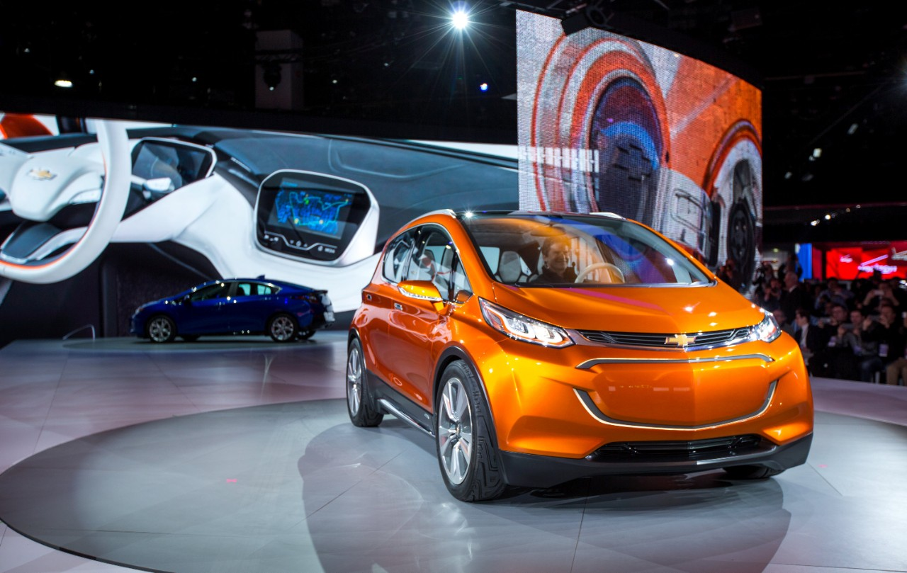 The Chevrolet Bolt EV concept in Detroit