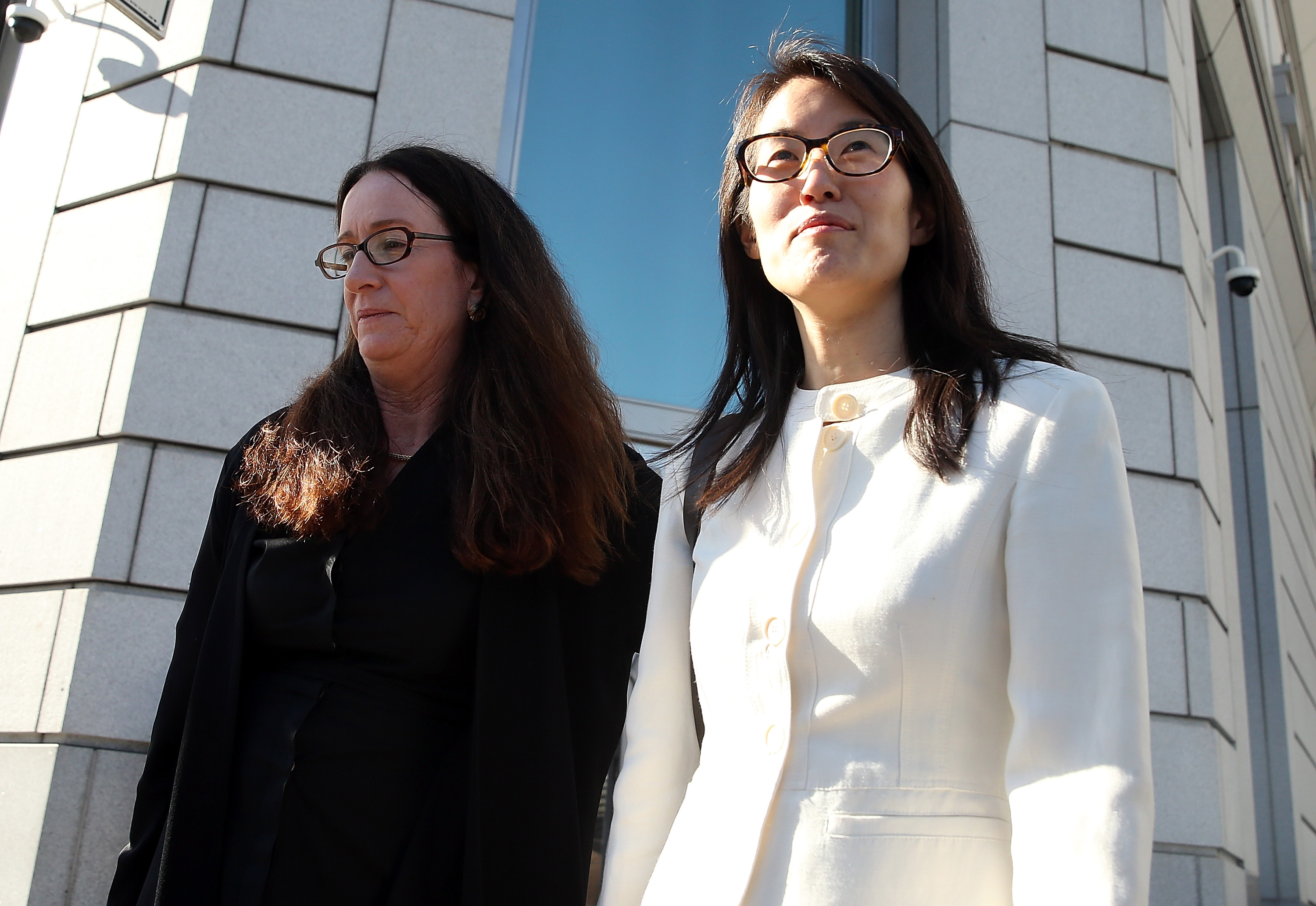 Ellen Pao, right, leaves the courthouse with attorney Therese Lawless after the jury ruled against Pao in a sexual-discrimination suit against storied venture capital firm Kleiner Perkins.