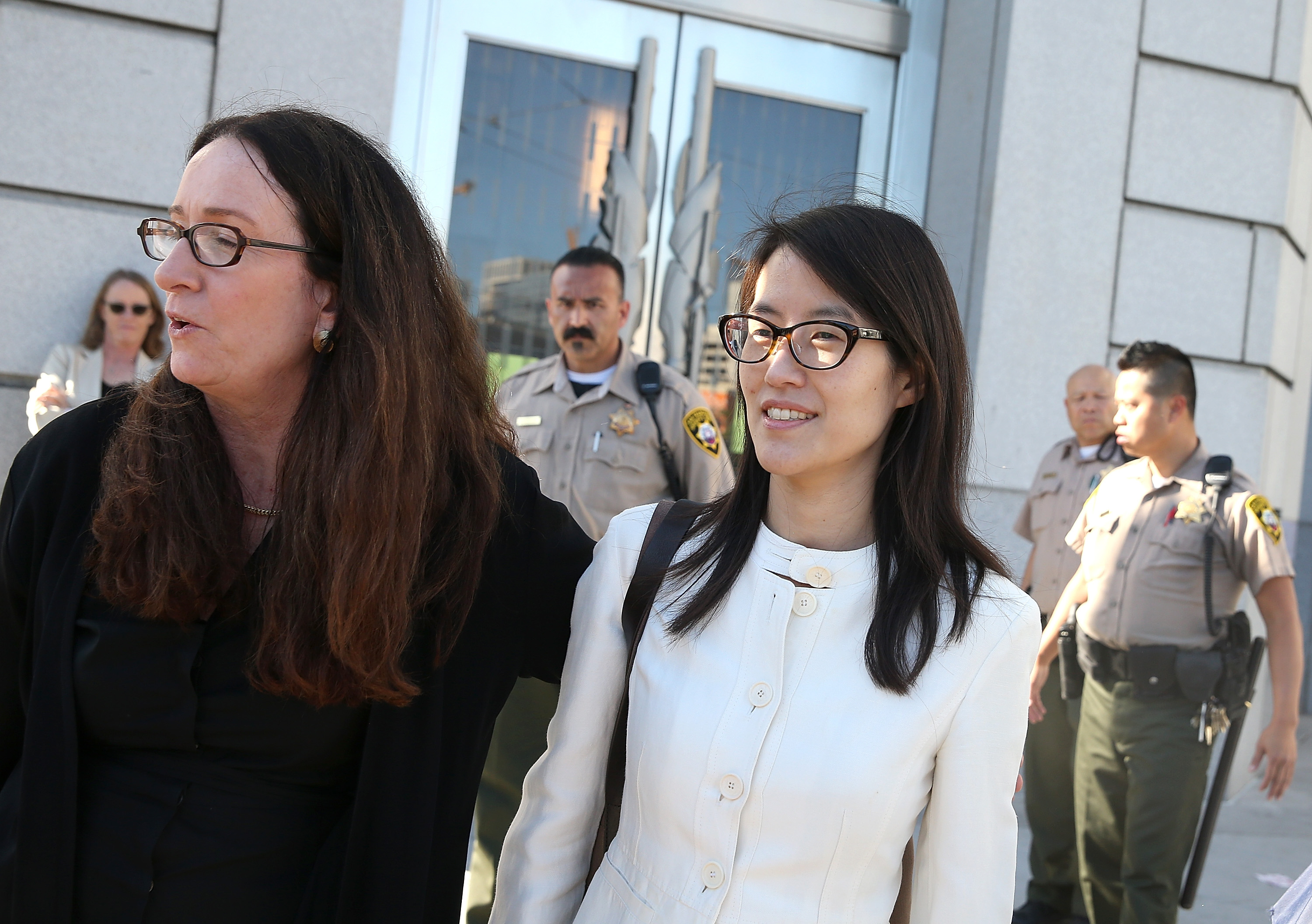"Ellen Pao, right, with attorney Therese Lawless after the verdict was delivered. In a series of post-trial tweets Pao said, ""If we do not share our stories and shine a light on inequities, things will not change."""