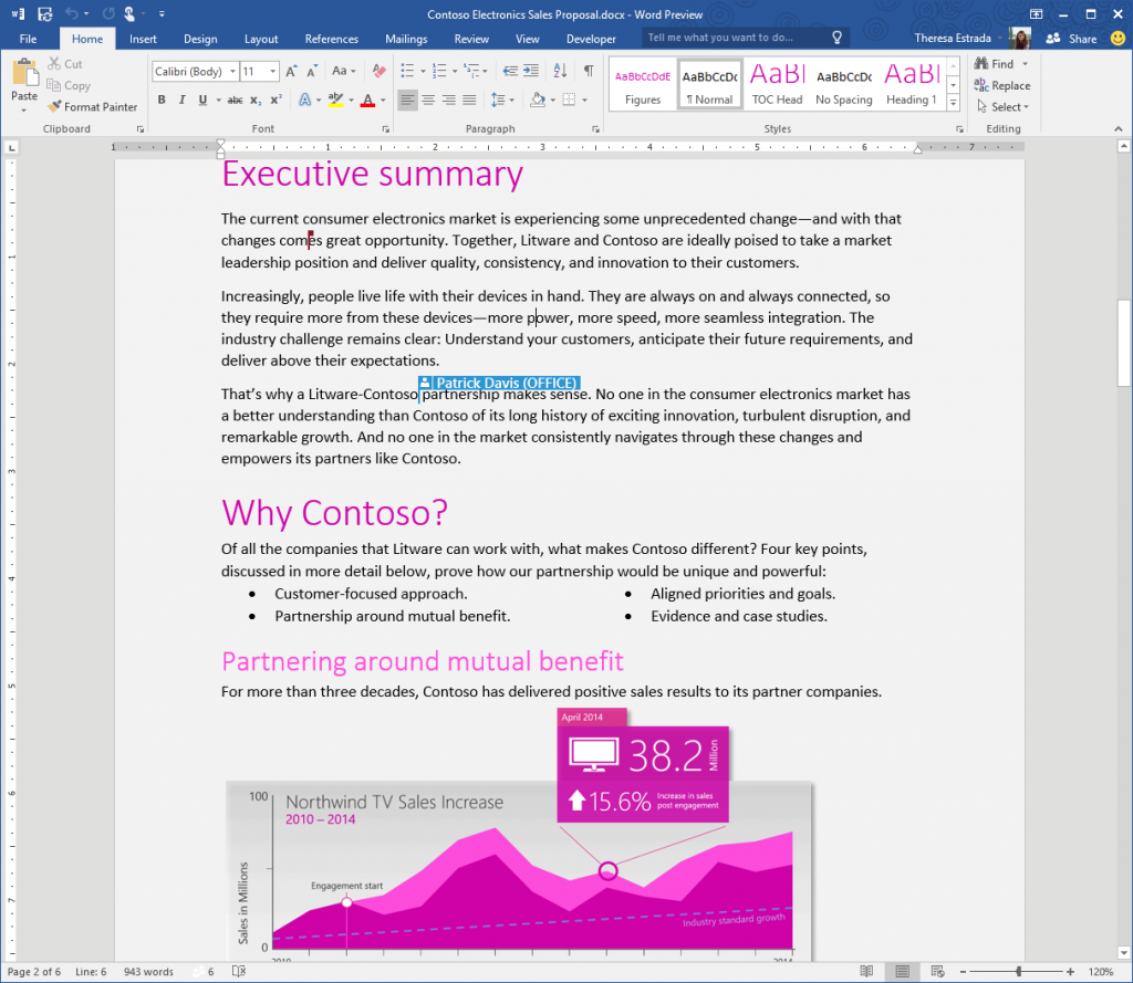 Real-time co-authoring is one of the key features Microsoft is touting in Office 16, which it opened to the public on Monday.