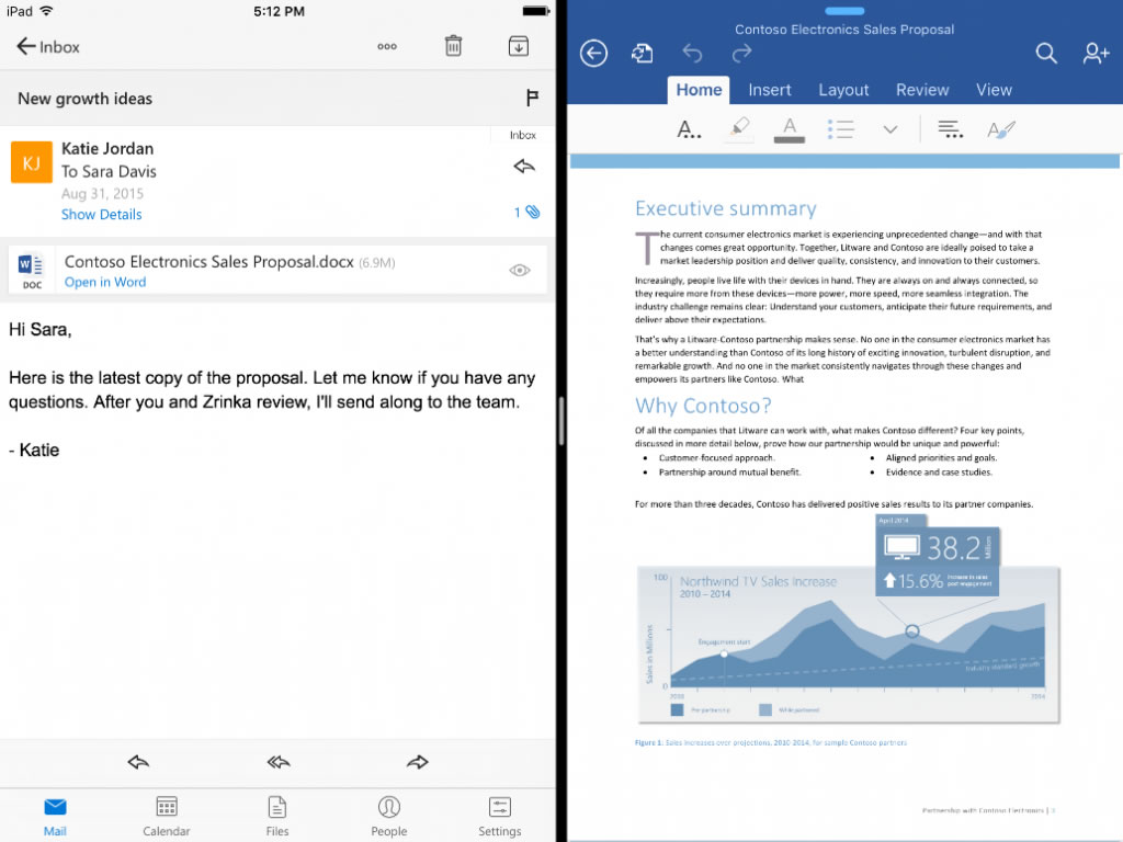 Viewing two apps side-by-side is one of the benefits for Office users who buy the new iPad Pro.