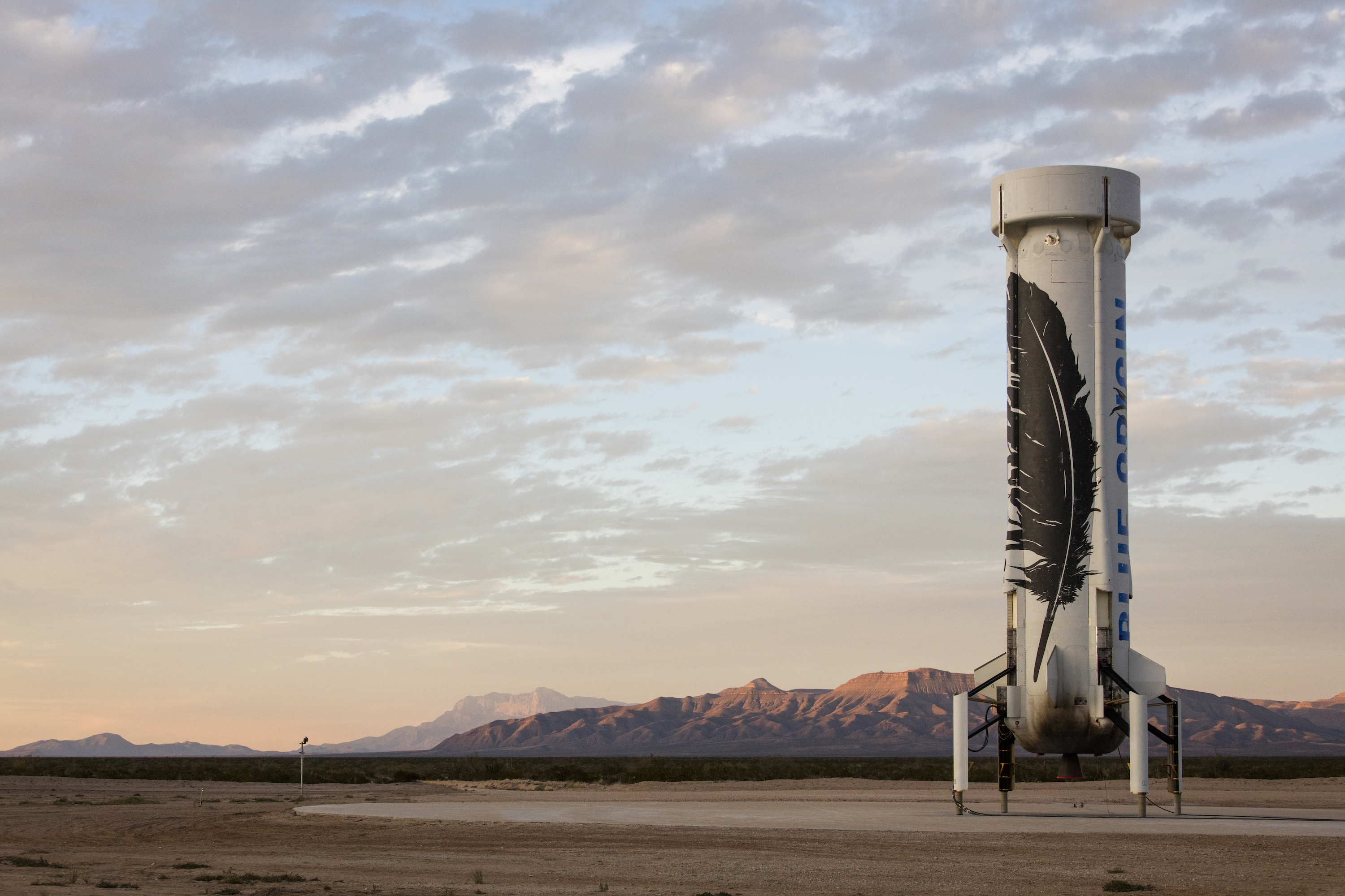 <p>The New Shepard after successfully landing in West Texas.</p>