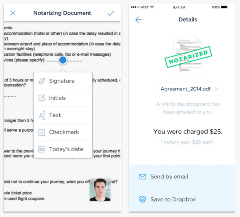 <p>Notarize for iOS lets you get a document notarized anywhere, anytime, for a flat rate of $25.</p>