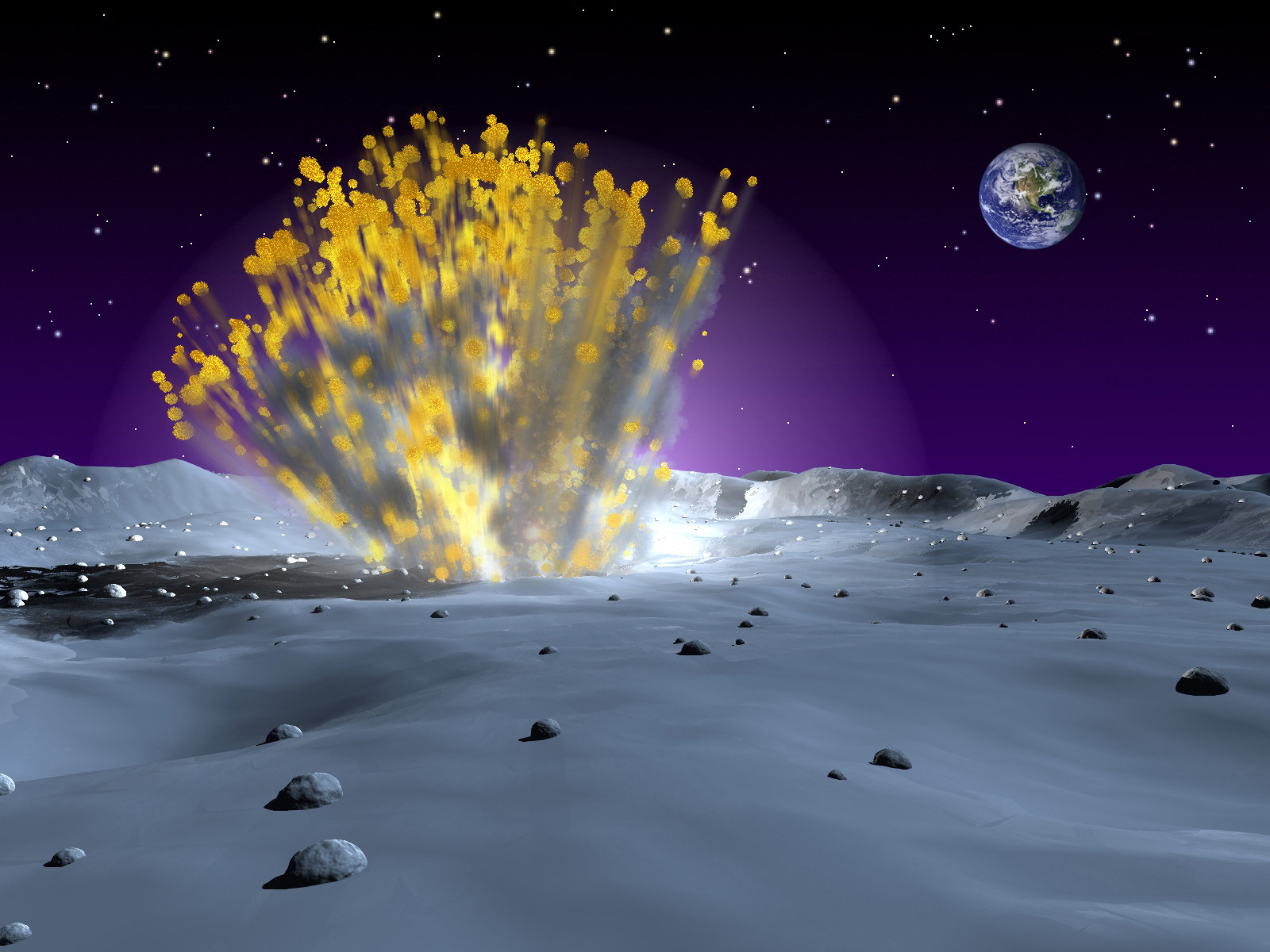 <p>Artist rendering of a meteor strike on the moon.</p>