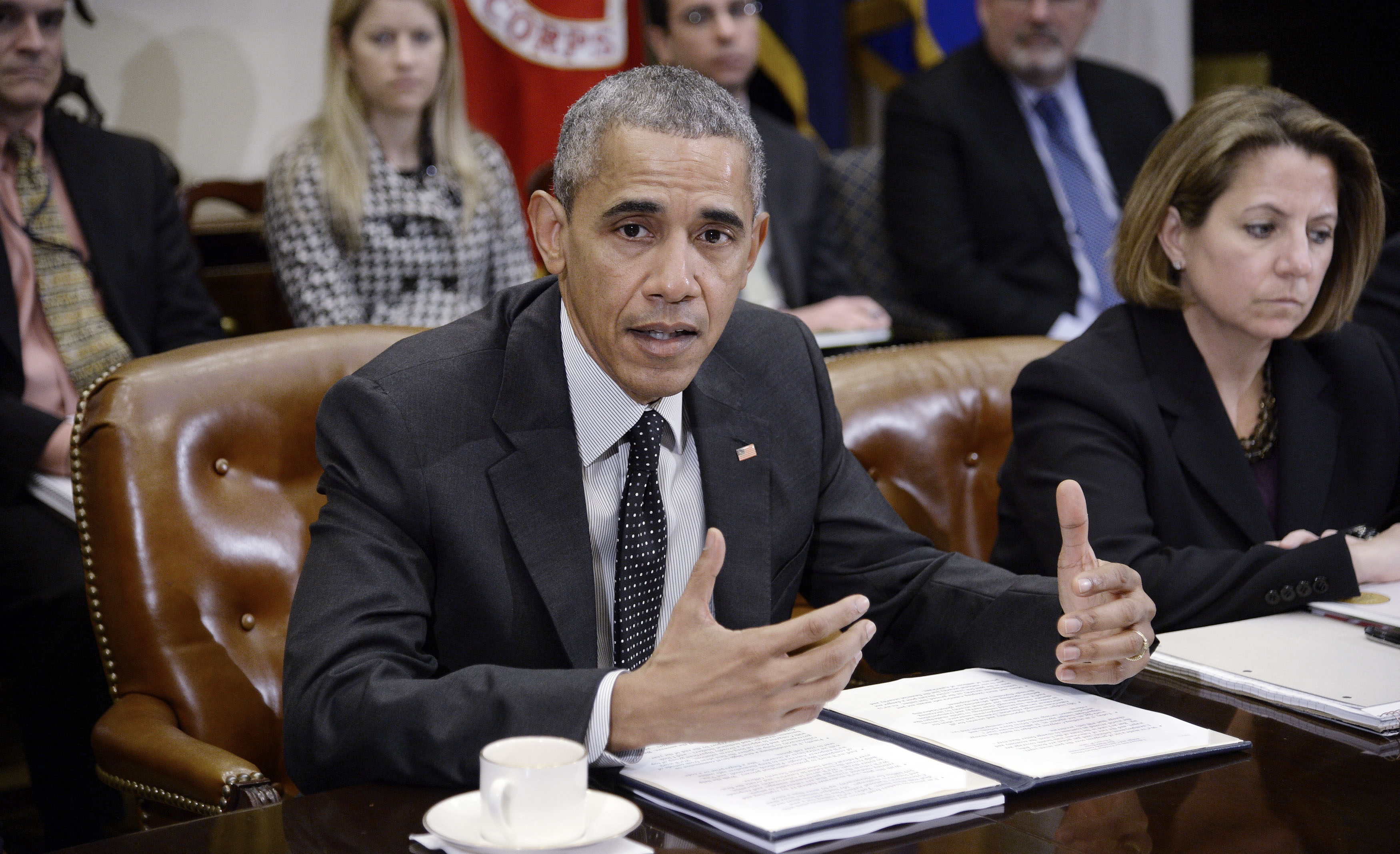 <p>US President Barack Obama speaks during a meeting with members of his national security team and cybersecurity advisors in the Roosevelt Room of the White House February 9, 2016. The President and his team discussed new actions to enhance the nation's cybersecurity, including measures that outlined in the President's FY2017 Budget proposal.</p>