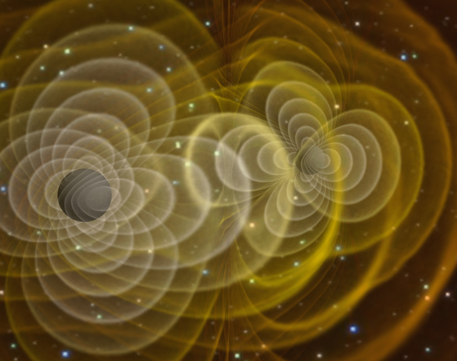<p>Visualisation of the gravity waves caused by two black holes merging.</p>
