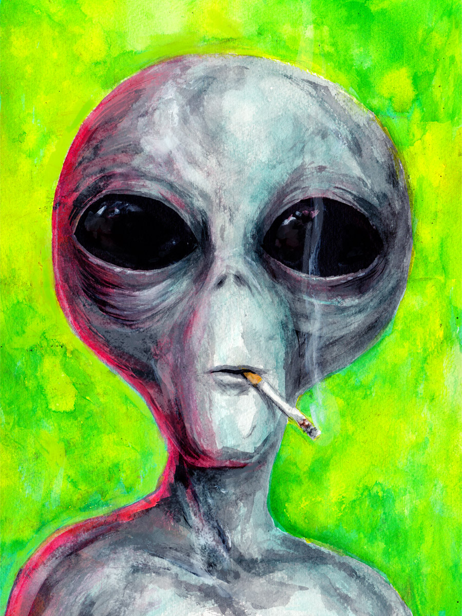 "<p><a href=""http://wet-brain.com/"">Austin James</a>, the painter of this smoking alien, said that his inspiration for the piece came from the ""<a href=""http://x-files.wikia.com/wiki/José_Chung's_From_Outer_Space"">Jose Chung's From Outer Space</a>"" episode which aired on April 12, 1996. In that installment of the series, the alien appears on the cover of a book written by science fiction novelist Jose Chung. He (it?) also shows up locked in a cell elsewhere in the episode muttering ""this is not happening.""</p>"