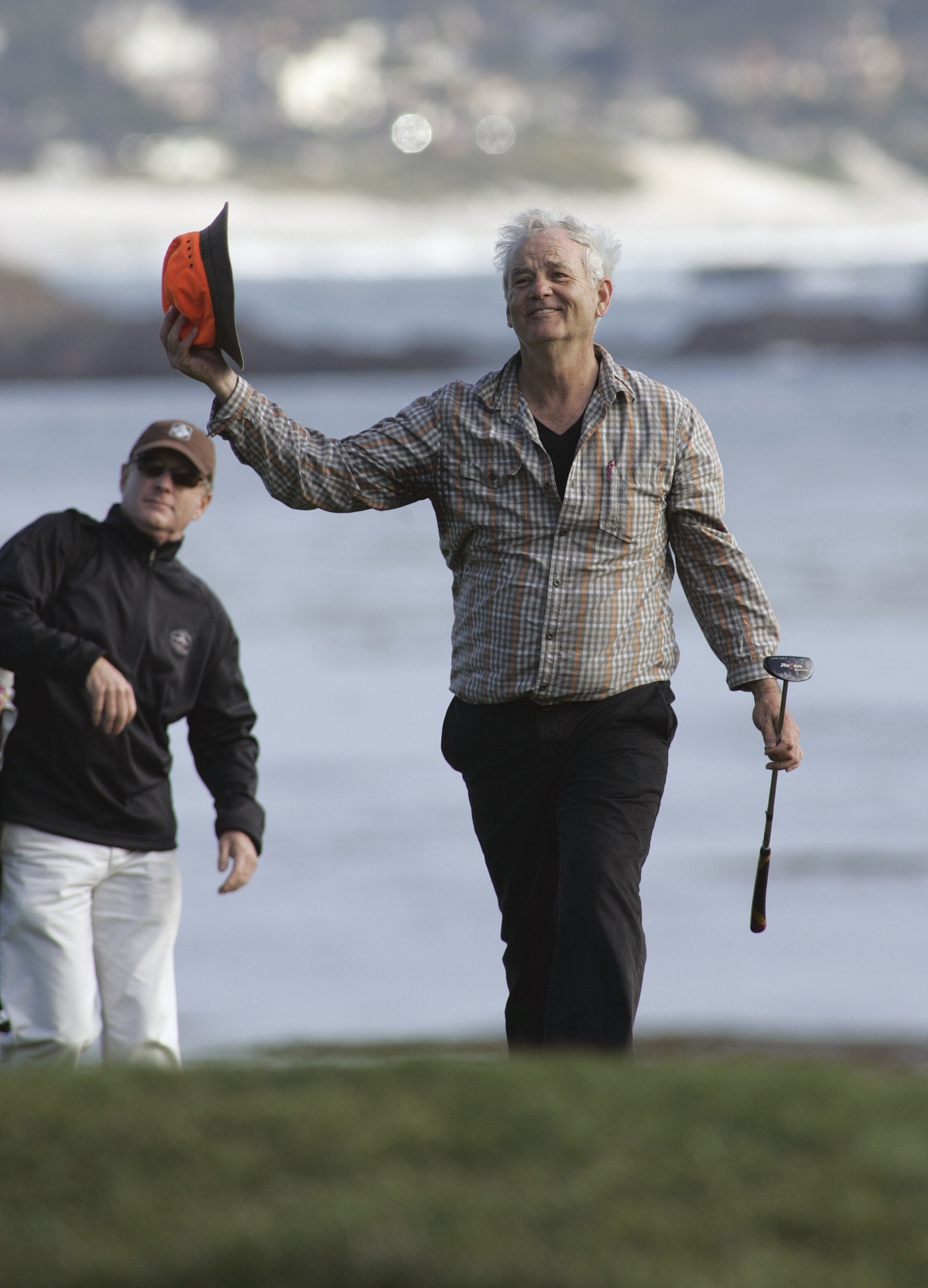 13 Feb 2011, Pebble Beach, California, USA --- 13 February 2011: Bill Murray acknowledges the crowd on the 18th during the Final Round of the AT&T Pebble Beach National Pro-Am at Pebble Beach Golf Links in Pebble Beach, CA. --- Image by © Larry Placido/Icon SMI/Corbis