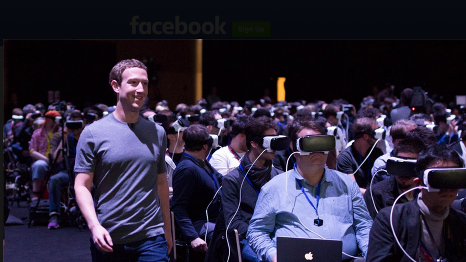 Mark Zuckerberg strolls past his first VR-Zombie army.